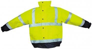 Warnschutz-Pilotenjacke mit PU-Beschichtung, Farbe leuchtgelb/marine, Gr.M